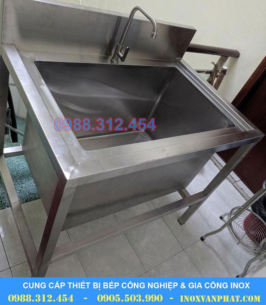 Chậu rửa inox 1 hộc lớn sản xuất tại Inox Vạn Phát